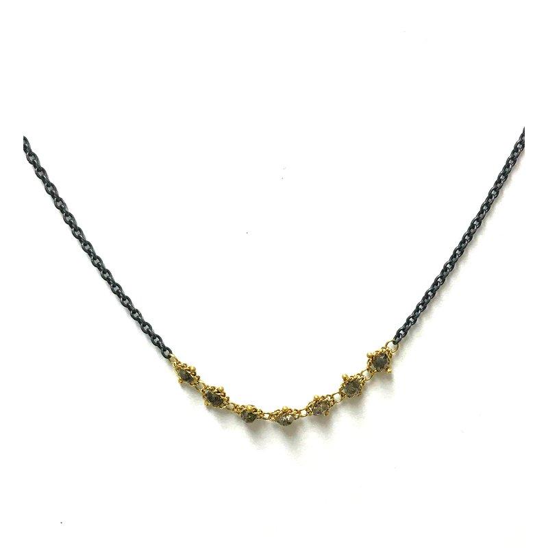 Amali Champagne Diamond Textile Necklace