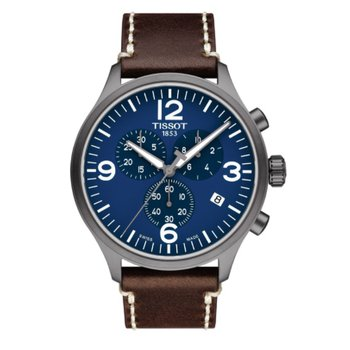 Chrono XL Blue Dial with Brown Leather