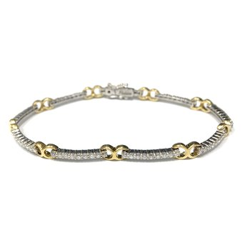 Two Tone Diamond Link Tennis Bracelet