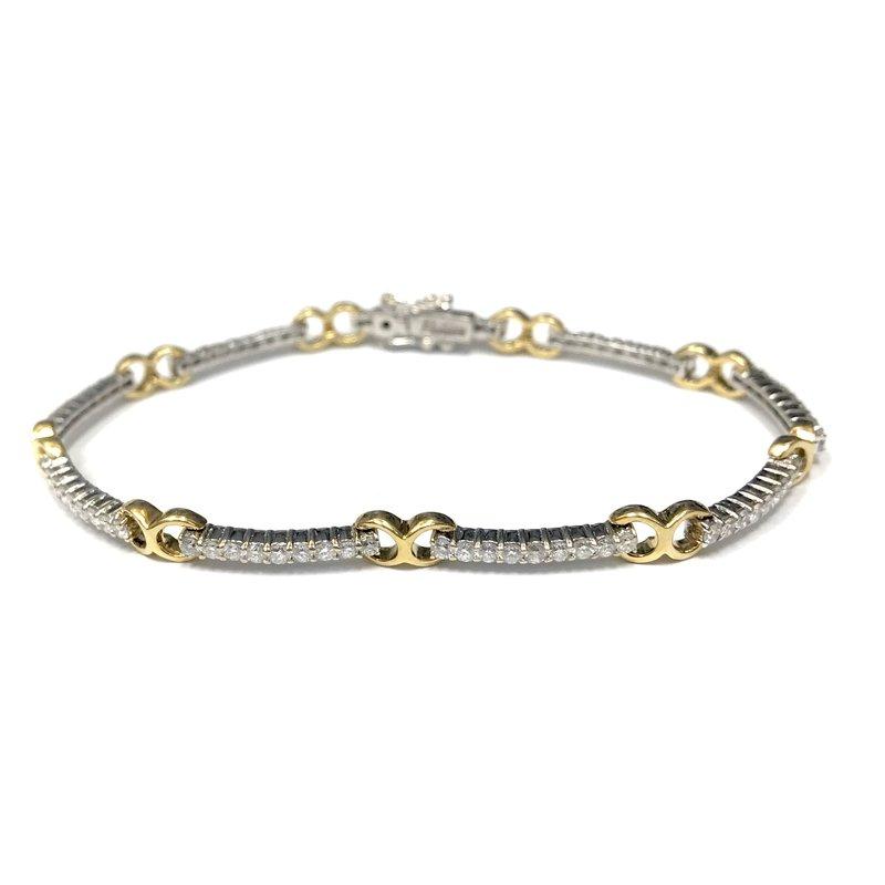 Antique, Estate & Consignment Two Tone Diamond Link Tennis Bracelet
