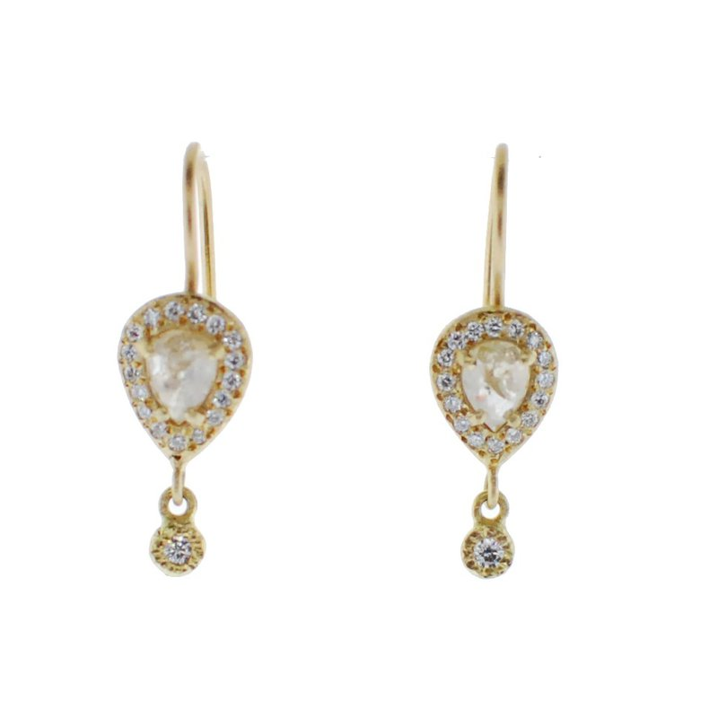 Yasuko Azuma Jewelry Rose Cut Diamond Drop Earrings