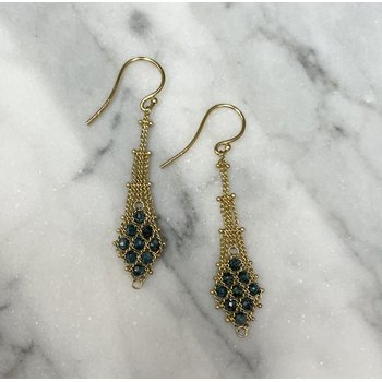 Blue Diamond Textile Earrings