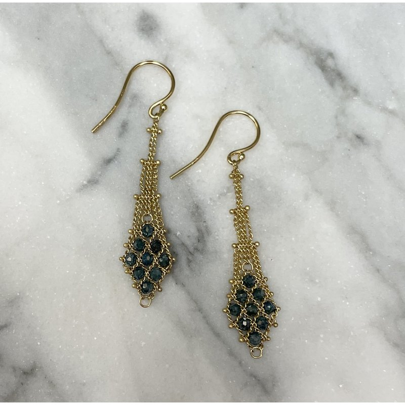 Amali Blue Diamond Textile Earrings