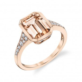 Emerald Cut Morganite & Diamond Ring