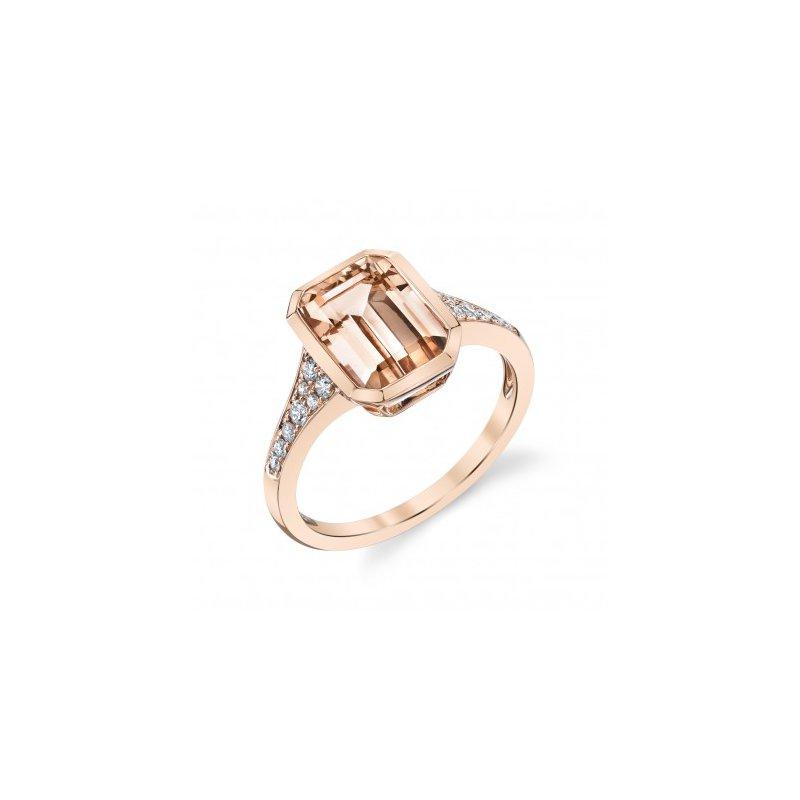 Stanton Color Emerald Cut Morganite & Diamond Ring