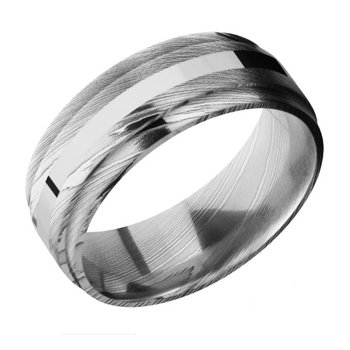 Damascus Steel and 14k White Gold Band