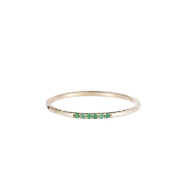 Jennie Kwon Emerald Semi Pave Ring