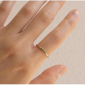 Emerald Semi Pave Ring