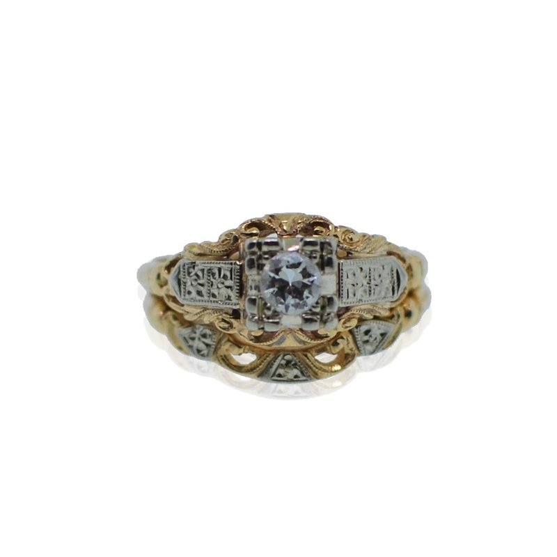 Antique, Estate & Consignment Yellow Gold Diamond Wedding Set