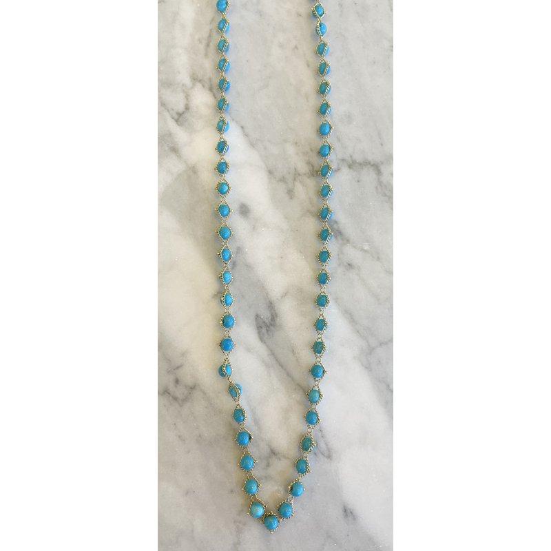 Amali Turquoise Textile Necklace