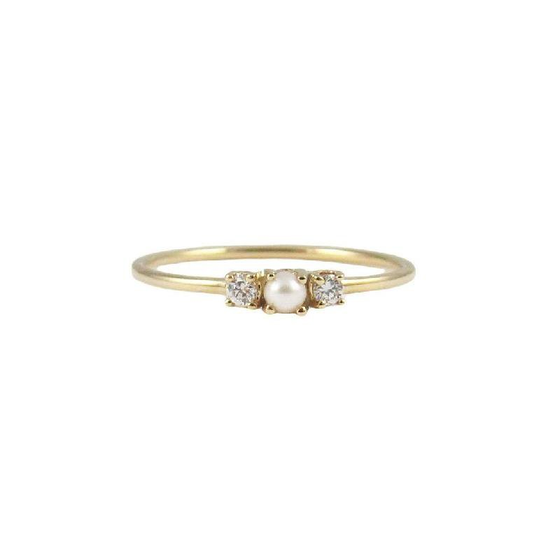 Jennie Kwon Pearl 2 Diamond Ring