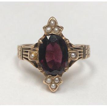 Vintage Garnet & Seed Pearl Ring