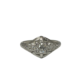 Diamond Milgrain Ring