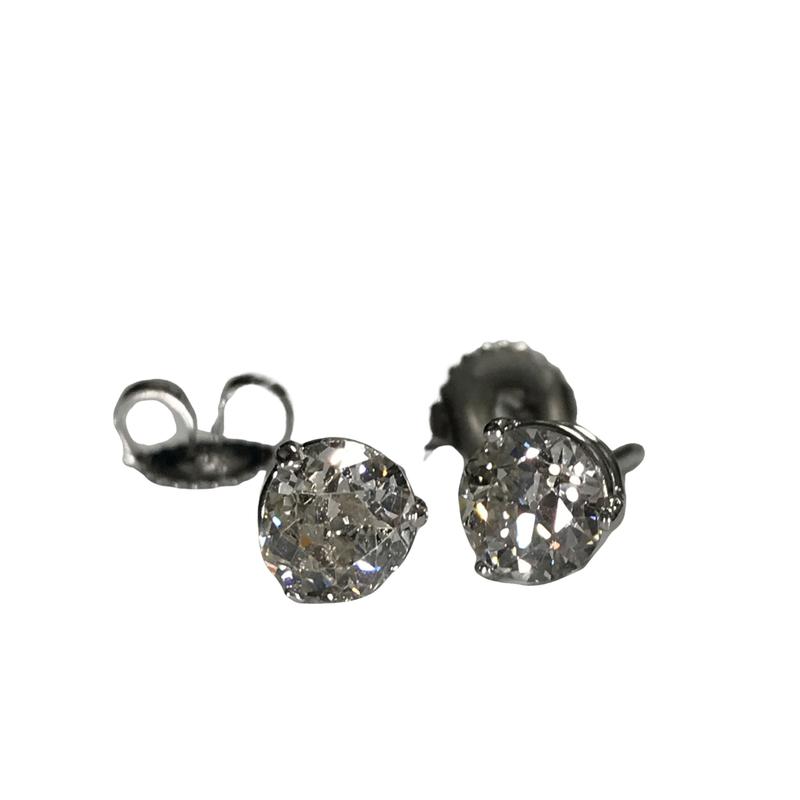 Antique, Estate & Consignment 18k 1.43 Carat Diamond Stud Earrings