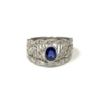 Vintage Inspired Sapphire & Diamond Ring