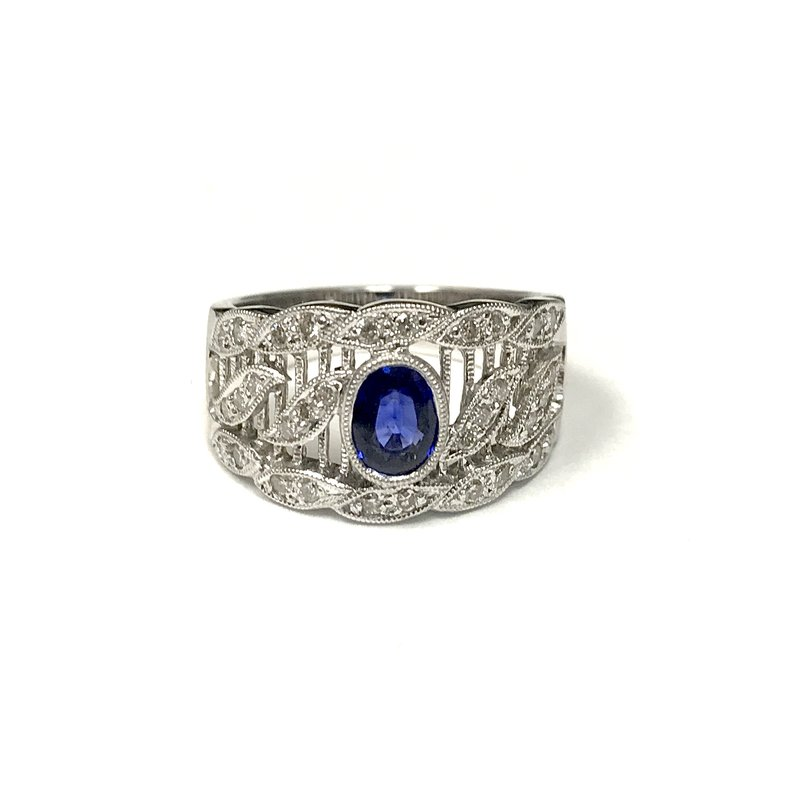 Antique, Estate & Consignment Vintage Inspired Sapphire & Diamond Ring