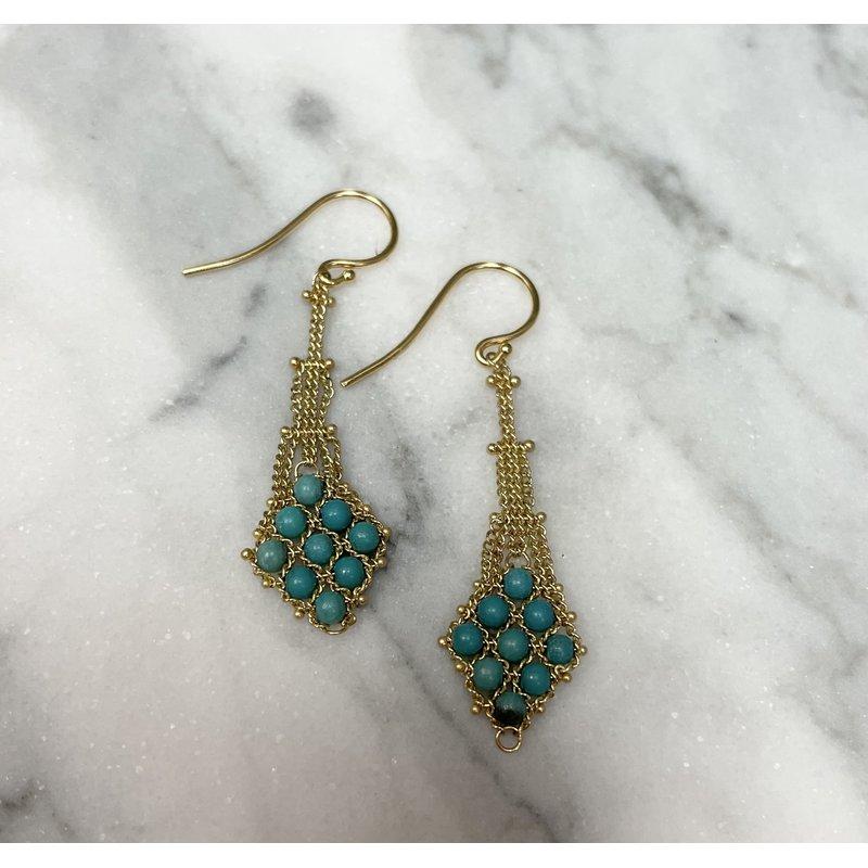Amali Turquoise Textile Drop Earrings