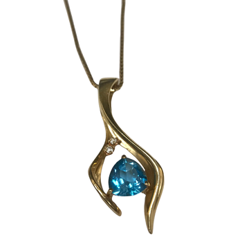 Blue Topaz & Diamond Necklace