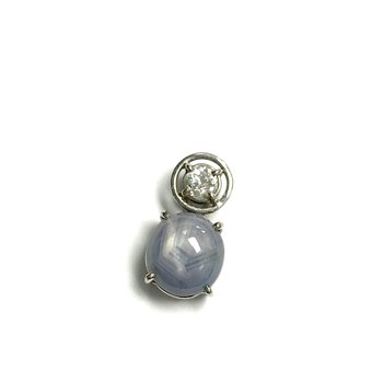Star Sapphire & European Cut Diamond Pendant