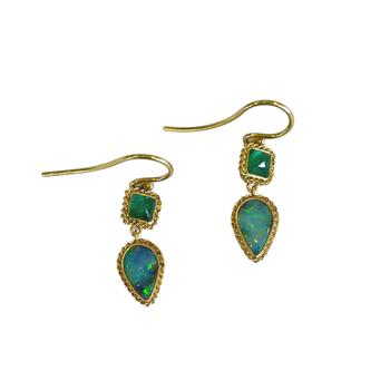 Emerald & Boulder Opal Earrings