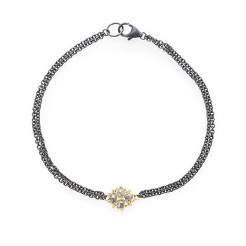 Woven Silver Diamond Station Bracelet