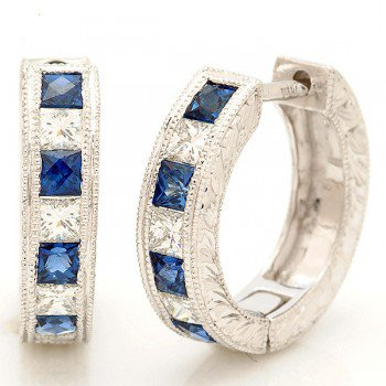 Sapphire & Diamond Huggie Earrings