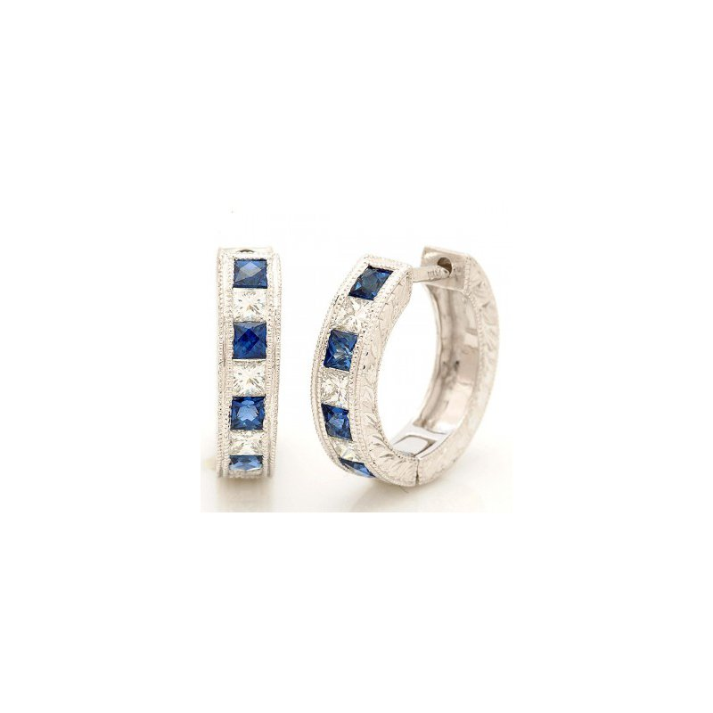 Antique, Estate & Consignment Sapphire & Diamond Huggie Earrings