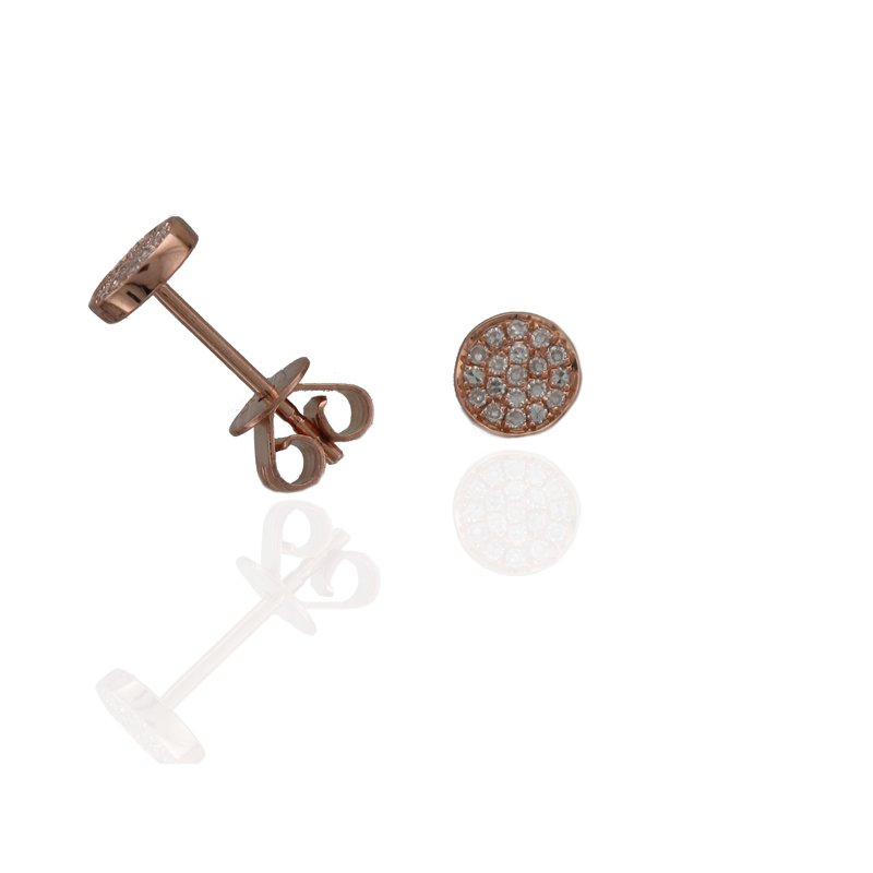 Hurdle's Jewelry Collection Rose Gold Pave Diamond Stud Earrings