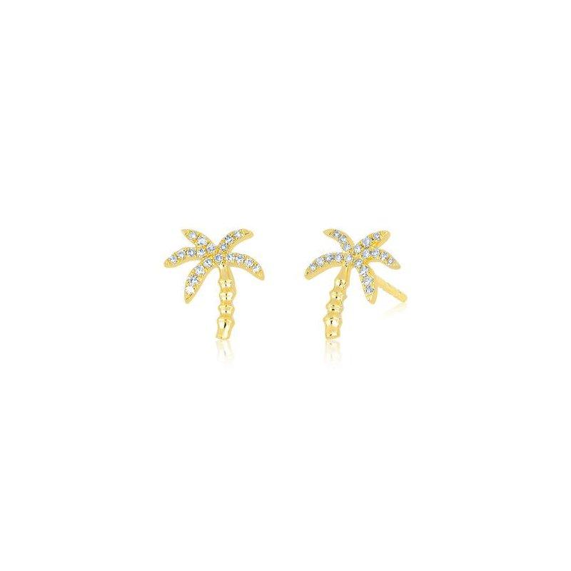 EF Collection Diamond Wild Palm Stud Earring
