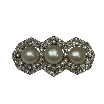 Pearl & Diamond Brooch