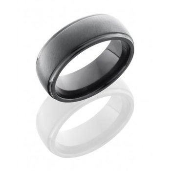 Black Zirconium Domed Band - Angle Satin/Polish