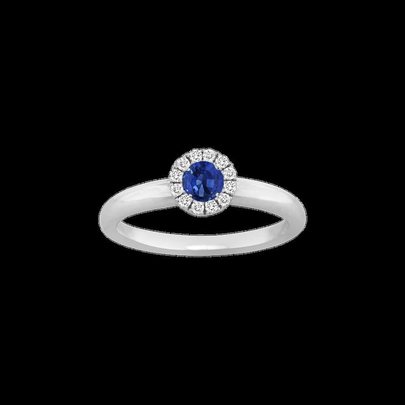 Spark Creations Sapphire & Diamond Halo Ring