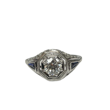 Diamond & Synthetic Sapphire Vintage Ring