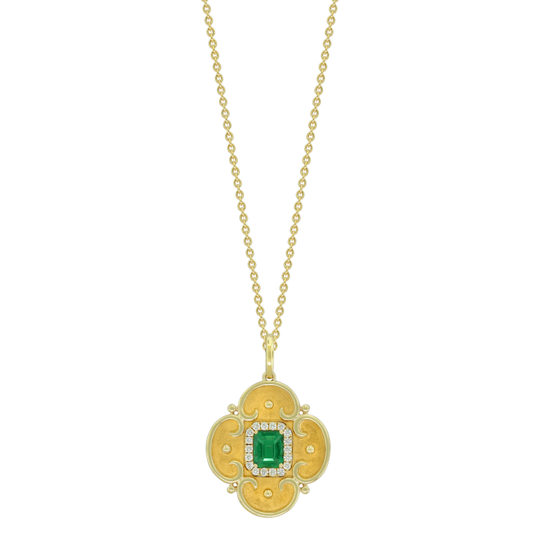 Spark Creations Etruscan Style Emerald & Diamond Necklace