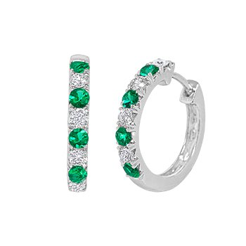 Emerald & Diamond Hoop Earrings