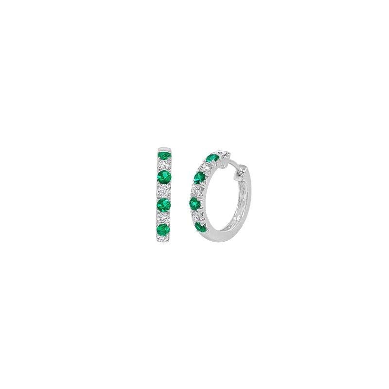 Spark Creations Emerald & Diamond Hoop Earrings