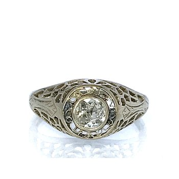 Old Mine Cut Diamond Filigree Ring