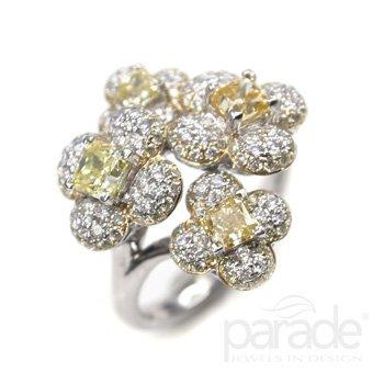 Yellow Diamond Flower Ring