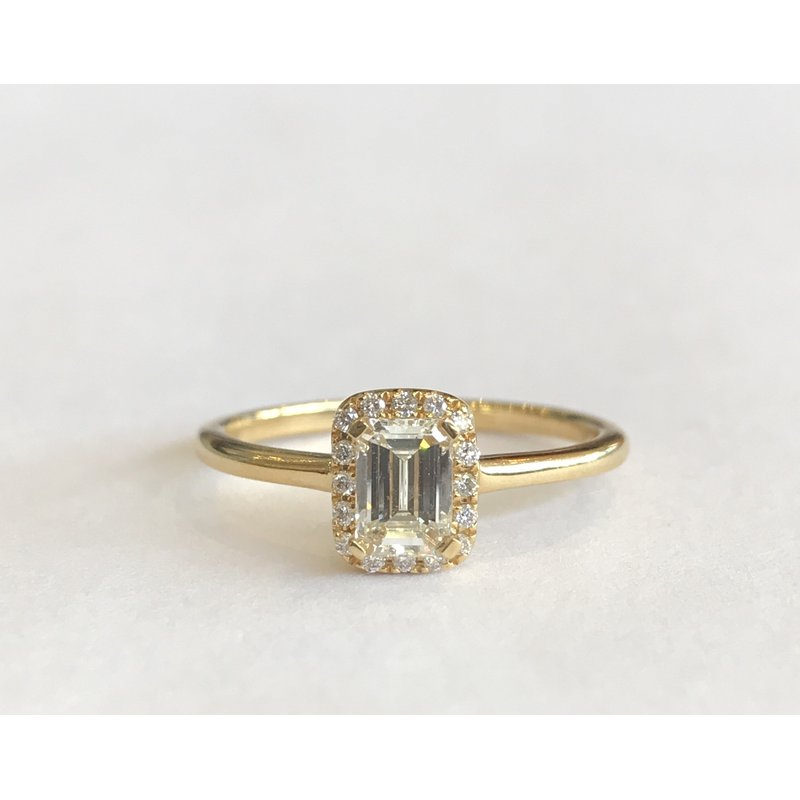 Hurdle's Jewelry Collection Yellow Gold Emerald Cut Halo Diamond Ring