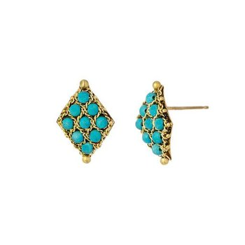 Textile Turquoise Stud Earrings