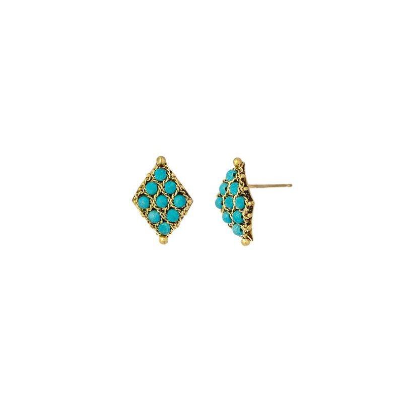 Amali Textile Turquoise Stud Earrings