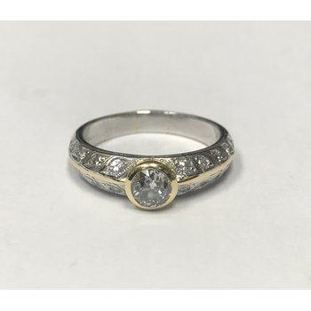 Two Tone Filigree Engagement Ring
