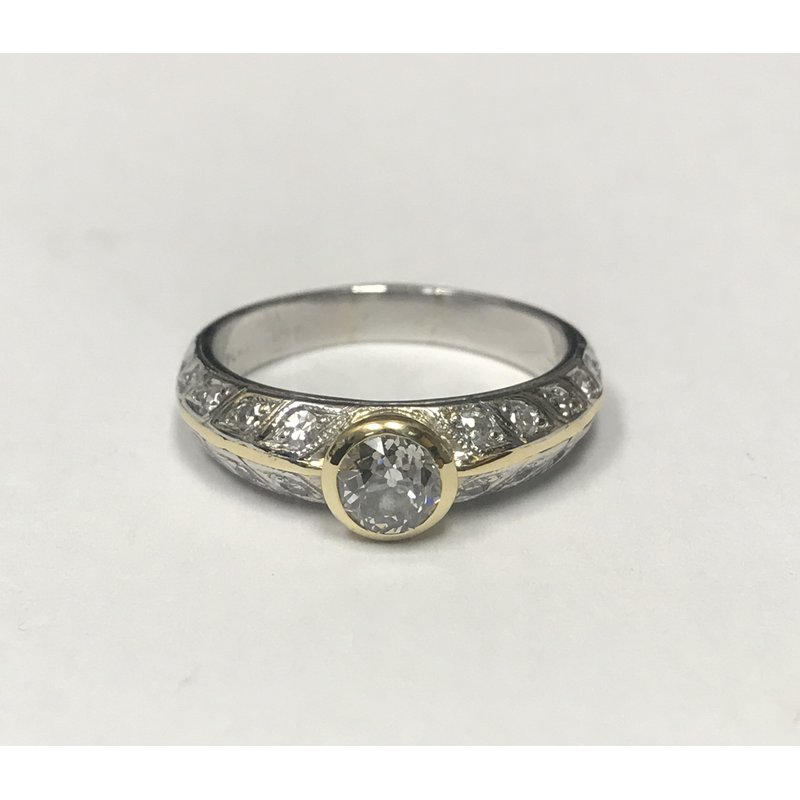 Antique, Estate & Consignment Two Tone Filigree Engagement Ring