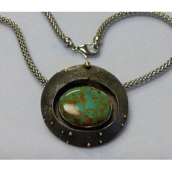 Turquoise Silver & 18k Pendant