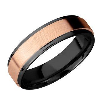 Black Zirconium and 14k Rose Gold Band