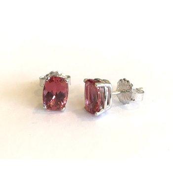 Oval Pink Tourmaline Stud Earrings