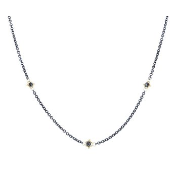 Oxidized Sterling Silver Black Diamond Station Necklace