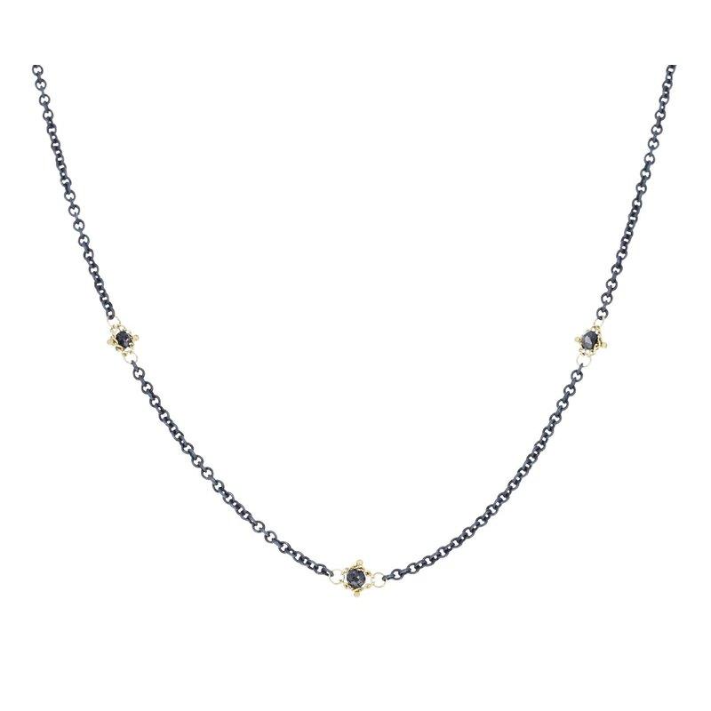 Amali Oxidized Sterling Silver Black Diamond Station Necklace