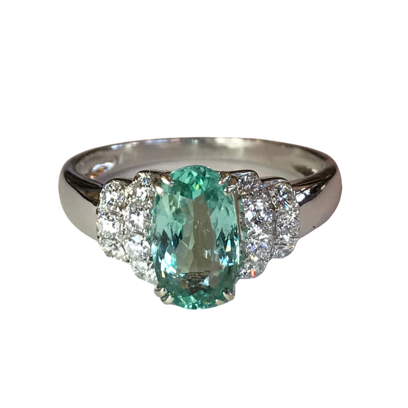 Antique, Estate & Consignment Paraiba Tourmaline & Diamond Ring - With GIA Origin Report
