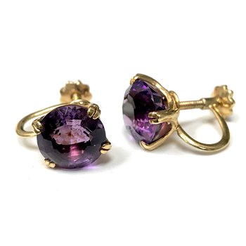 Non-Pierced Round Amethyst Earrings